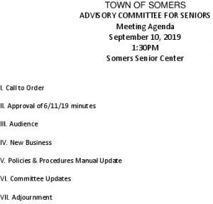Icon of 20190910 Advisory Committee For Seniors Agenda