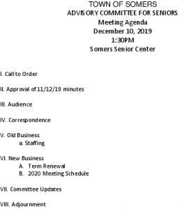 Icon of 20191210 Advisory Committee For Seniors Agenda