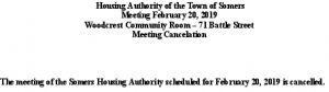 Icon of 20190220 Housing Auth Mtg Cancellation