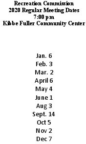 Icon of 2020 Recreation Mtg Schedule