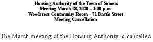 Icon of 20200318 Housing Auth Mtg Cancellation