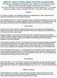 Icon of MENTAL HEALTH WELLNESS TIPS FOR QUARANTINE