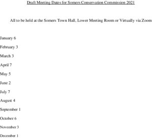 Icon of Draft Meeting Dates For Somers Conservation Commission 2021