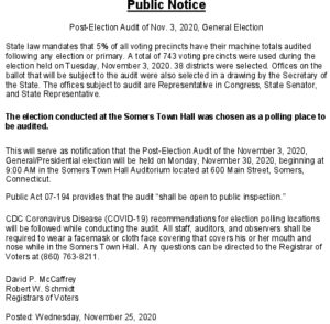 Icon of Public Notice Post-Election Audit Of Nov  3 2020 General Election