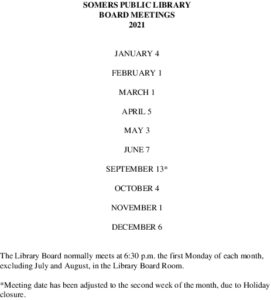 Icon of 2021 Library Board Meeting Dates