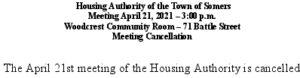 Icon of 20210421 Housing Auth Mtg Cancellation