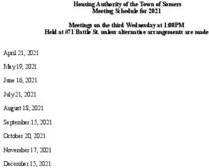 Icon of 2021 Housing Auth Mtg Schedule