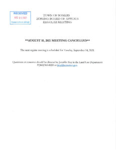 Icon of 20210810 ZBA Meeting Cancelled