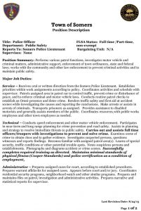 Icon of Somers Police Job Description Revised 12