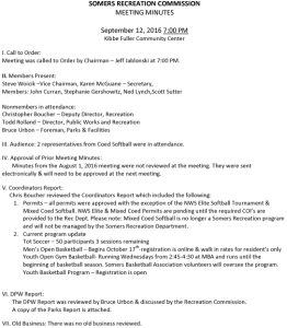 Icon of 20160912 Rec Commission Minutes Special Meeting
