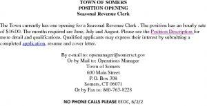 Icon of Seasonal Revenue Clerk Position Opening 2017