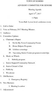 Icon of 20170411 Advisory Committee For Seniors Agenda