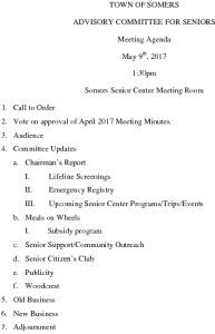 Icon of 20170509 Advisory Committee For Seniors Agenda