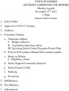 Icon of 20171114 Advisory Committee For Seniors Agenda