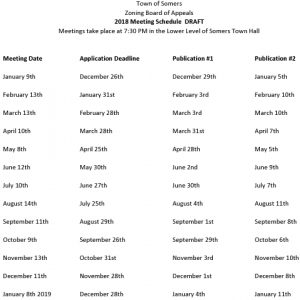Icon of 2018 ZBA Meeting Schedule DRAFT