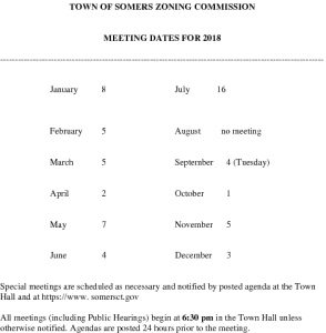 Icon of 2018 Zoning Commission Meeting Dates