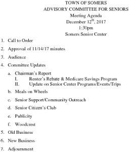Icon of 20171212 Advisory Committee For Seniors Agenda