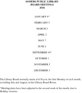 Icon of 2018 Library Board Meeting Dates