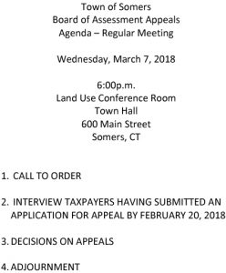 Icon of 20180307 Assessment Appeals Agenda