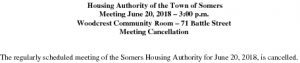 Icon of 20180620 Housing Auth Mtg Cancellation