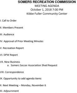 Icon of Rec Commission Agenda 20181001