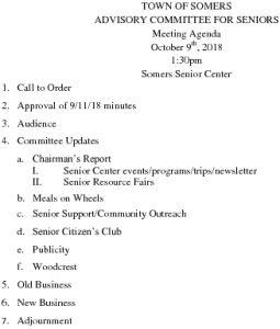 Icon of 20181009 Advisory Committee For Seniors Agenda