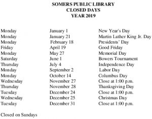 Icon of 2019 Library Brd Closures And Holidays