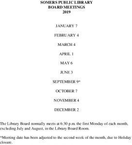 Icon of 2019 Library Board Meeting Dates