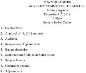 Icon of 20181211 Advisory Committee For Seniors Agenda