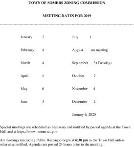 Icon of 2019 Zoning Commission Meeting Schedule